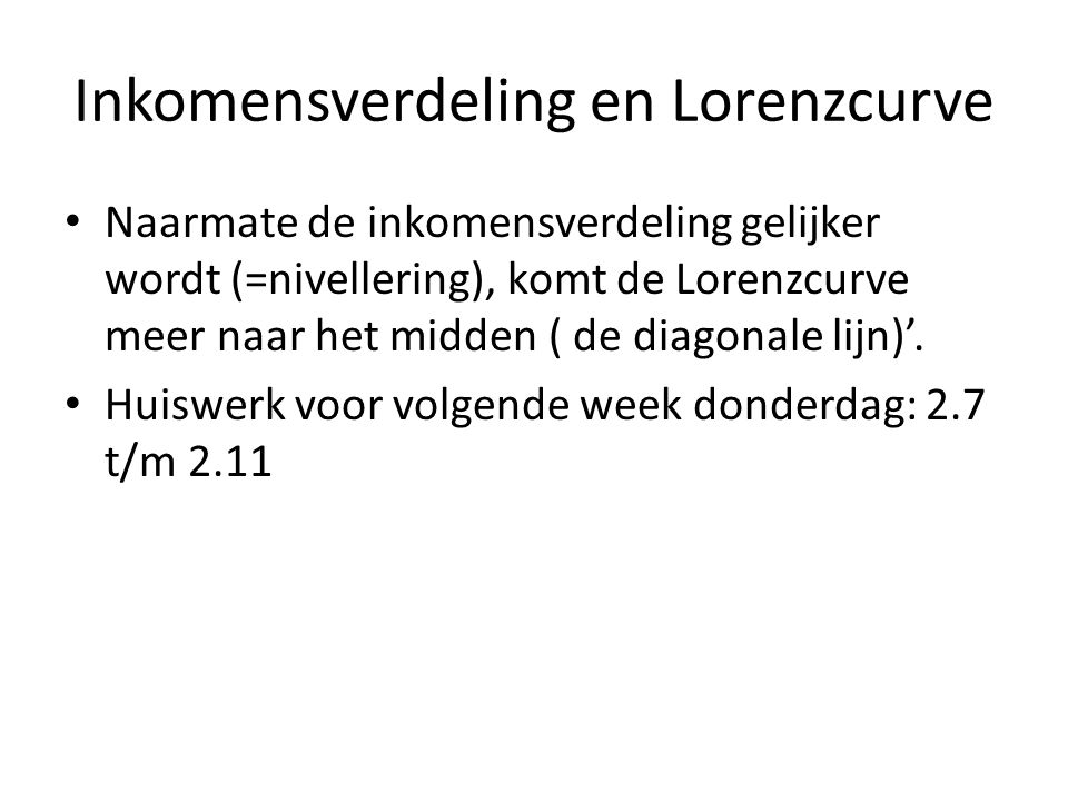 Inkomensverdeling en Lorenzcurve