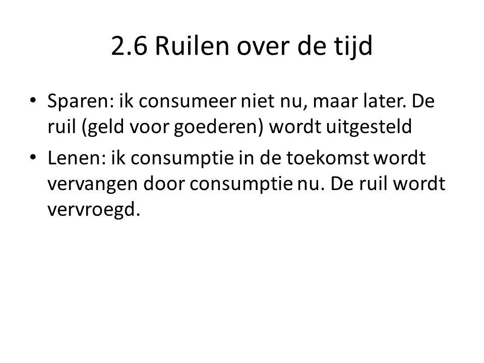 2.6 Ruilen over de tijd Sparen: ik consumeer niet nu, maar later. De ruil (geld voor goederen) wordt uitgesteld.