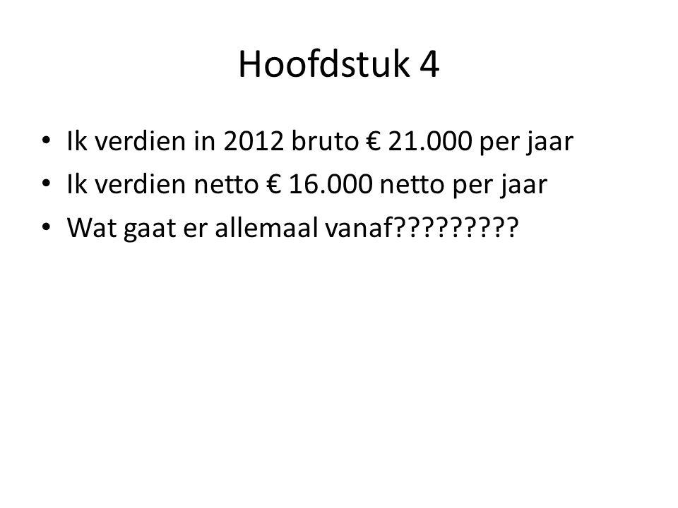 Hoofdstuk 4 Ik verdien in 2012 bruto € 21.000 per jaar