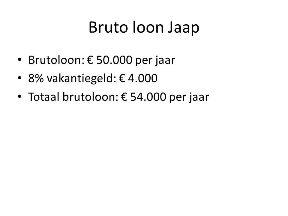 Bruto loon Jaap Brutoloon: € 50.000 per jaar 8% vakantiegeld: € 4.000