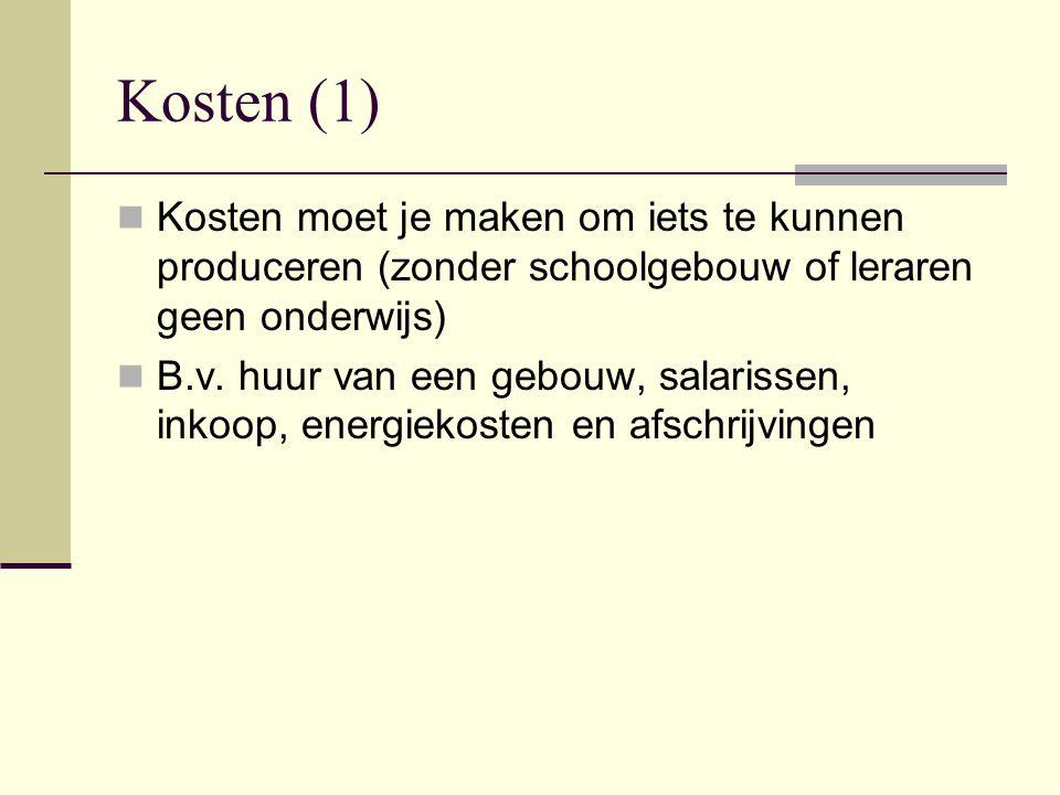Kosten (1) Kosten moet je maken om iets te kunnen produceren (zonder schoolgebouw of leraren geen onderwijs)