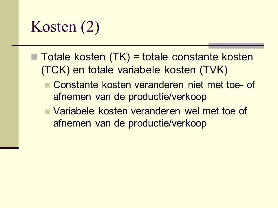 Kosten (2) Totale kosten (TK) = totale constante kosten (TCK) en totale variabele kosten (TVK)