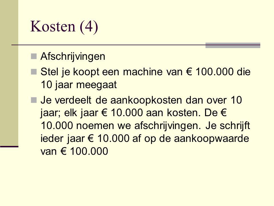 Kosten (4) Afschrijvingen