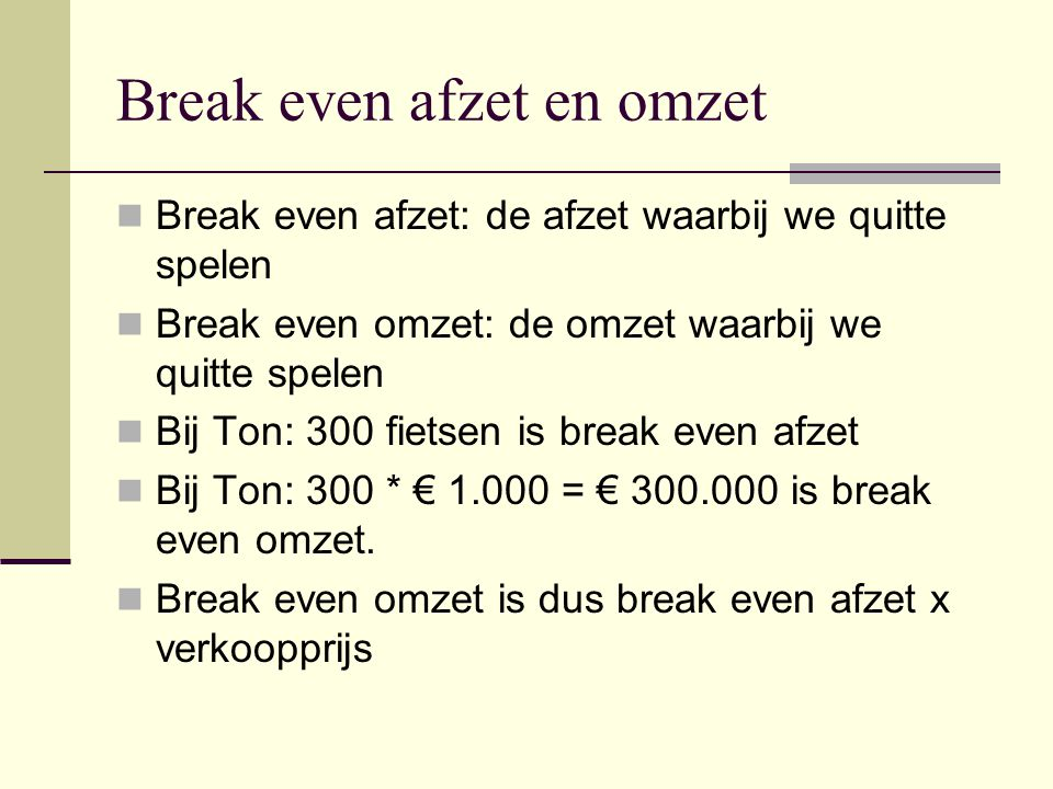 Break even afzet en omzet