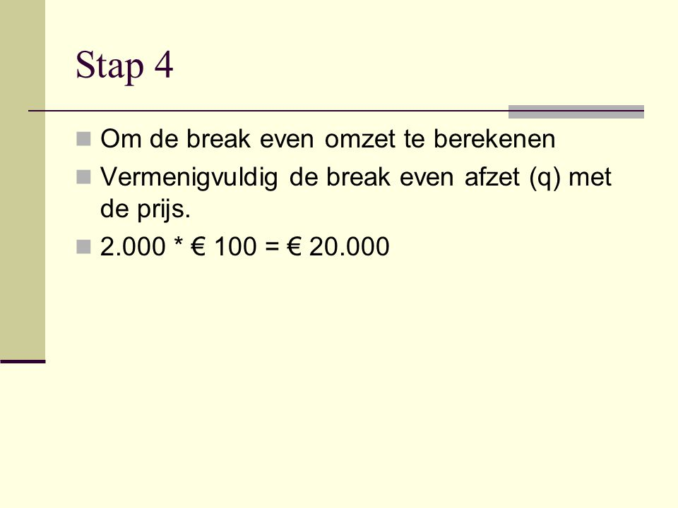 Stap 4 Om de break even omzet te berekenen