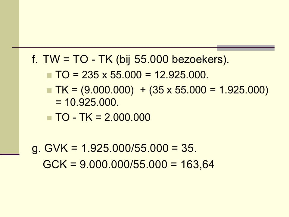 f. TW = TO - TK (bij 55.000 bezoekers).