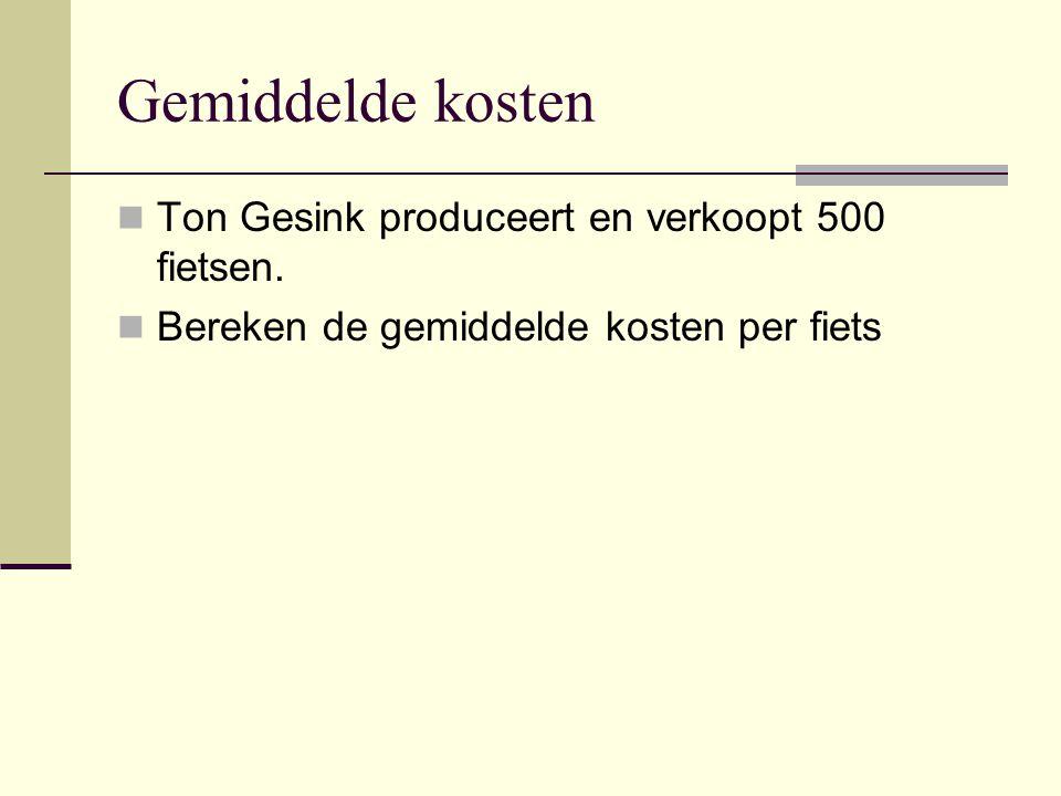 Gemiddelde kosten Ton Gesink produceert en verkoopt 500 fietsen.