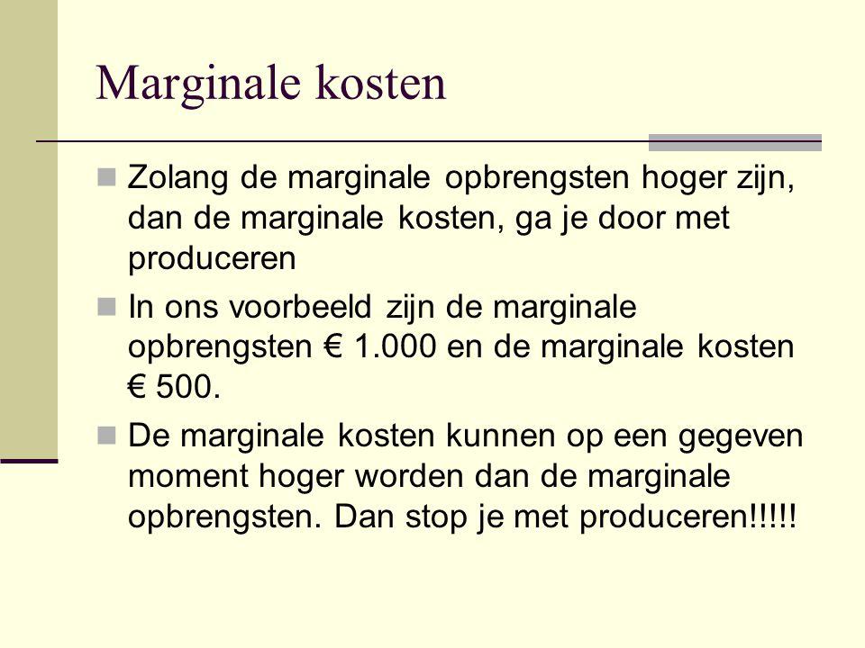 Marginale kosten Zolang de marginale opbrengsten hoger zijn, dan de marginale kosten, ga je door met produceren.