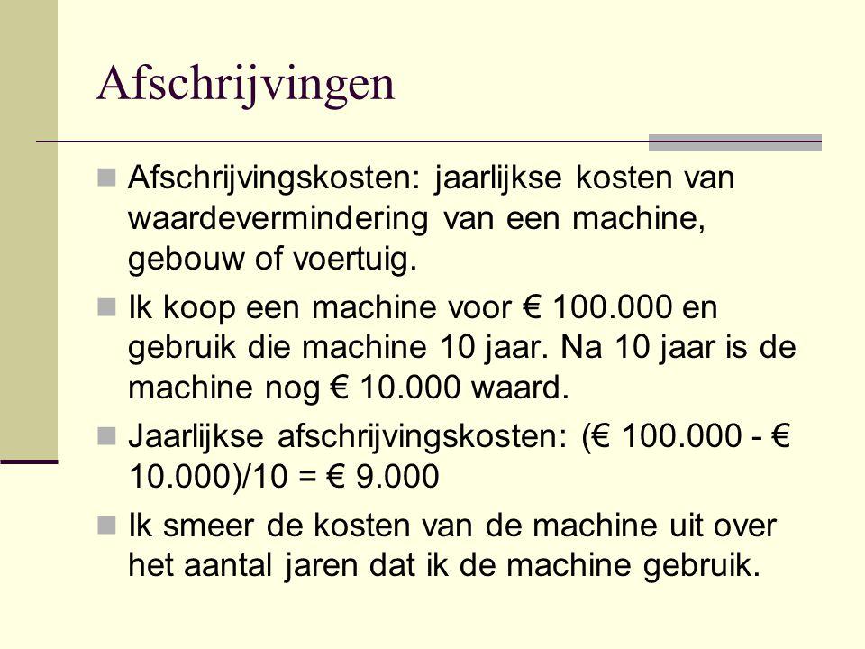 Afschrijvingen Afschrijvingskosten: jaarlijkse kosten van waardevermindering van een machine, gebouw of voertuig.