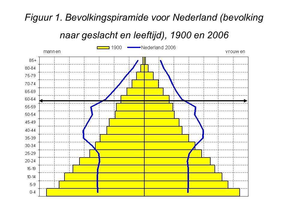 Figuur 1. Bevolkingspiramide voor Nederland (bevolking naar geslacht en leeftijd), 1900 en 2006