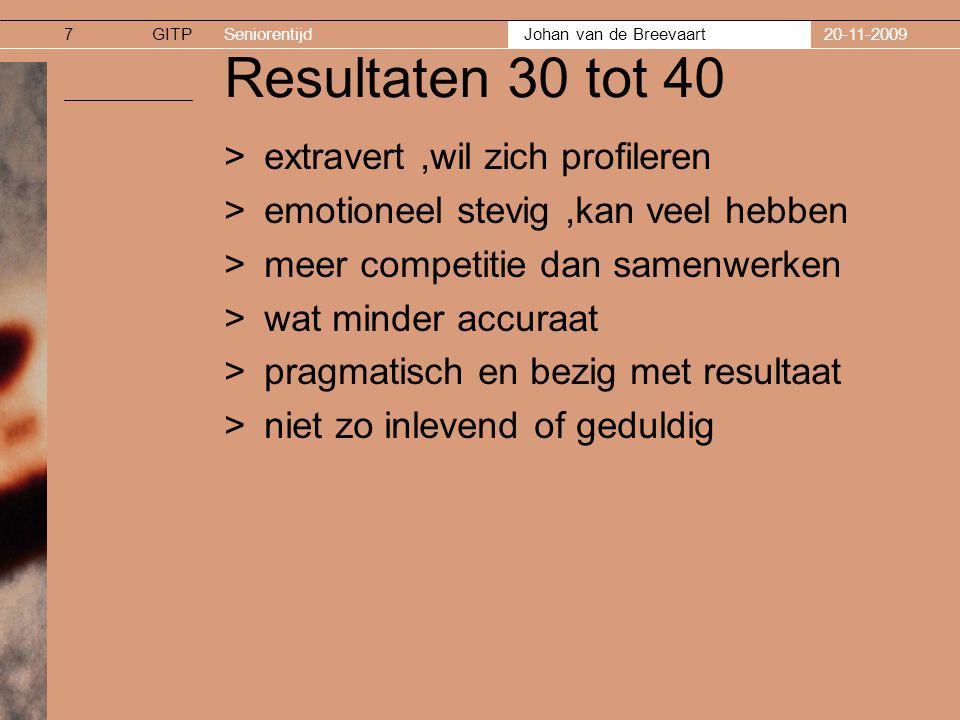 Resultaten 30 tot 40 extravert ,wil zich profileren