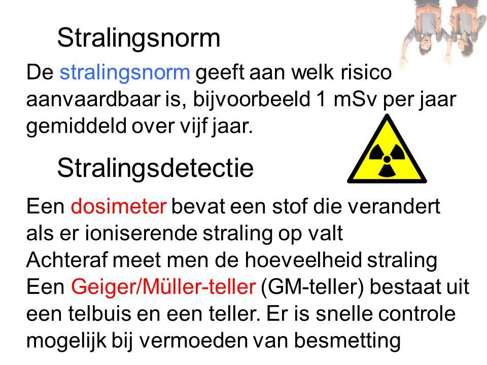 Stralingsnorm Stralingsdetectie De stralingsnorm geeft aan welk risico