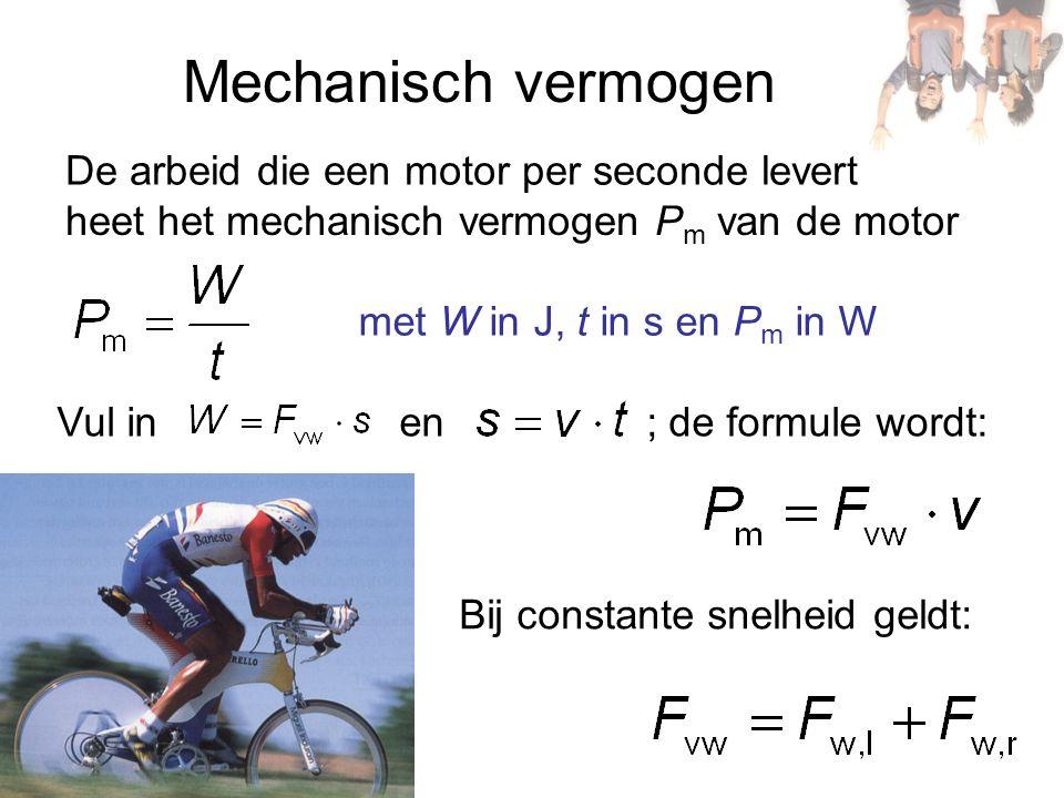 Mechanisch vermogen De arbeid die een motor per seconde levert