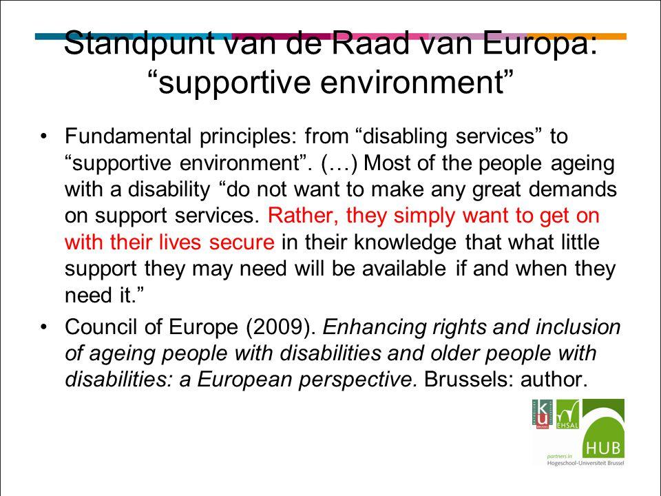 Standpunt van de Raad van Europa: supportive environment