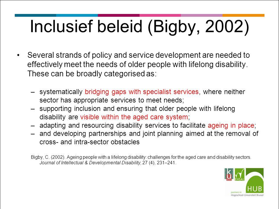 Inclusief beleid (Bigby, 2002)