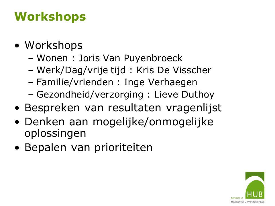 Workshops Workshops Bespreken van resultaten vragenlijst