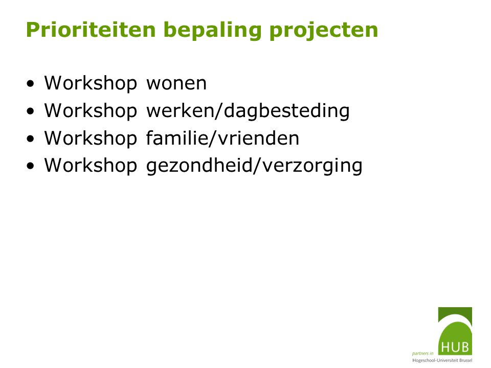 Prioriteiten bepaling projecten