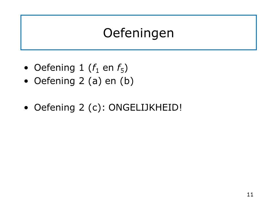 Oefeningen Oefening 1 (f1 en f5) Oefening 2 (a) en (b)