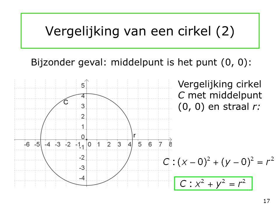 Vergelijking van een cirkel (2)