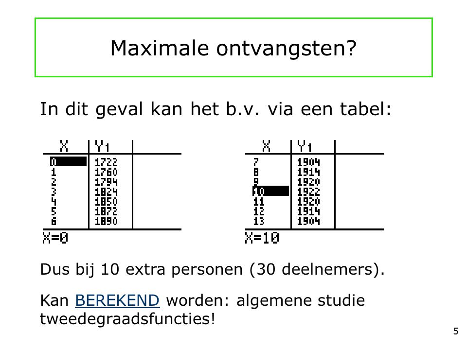Maximale ontvangsten In dit geval kan het b.v. via een tabel: