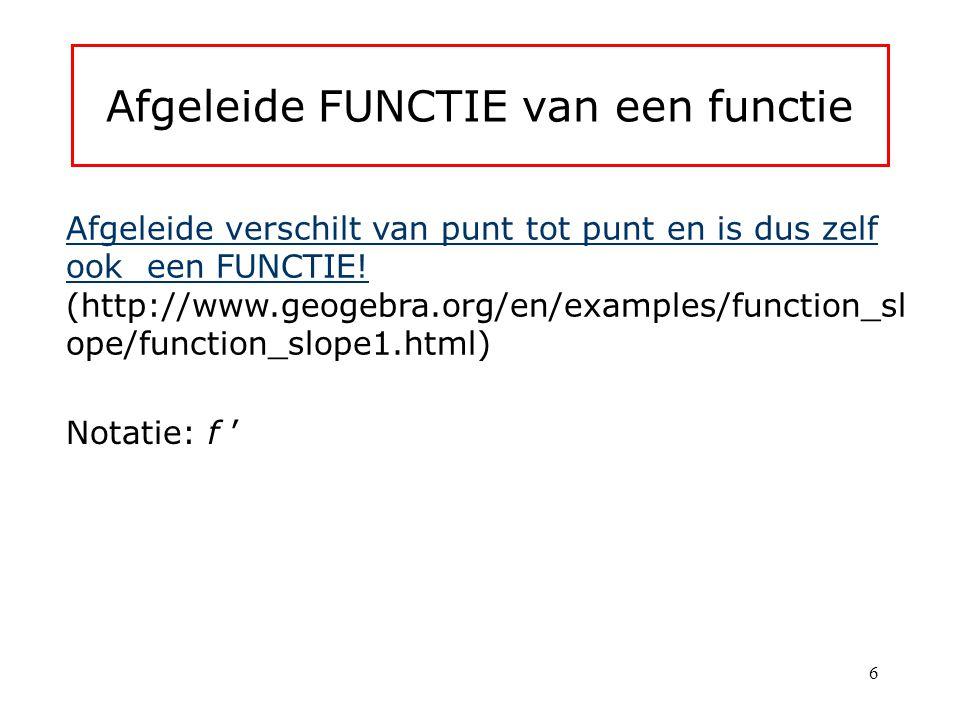 Afgeleide FUNCTIE van een functie