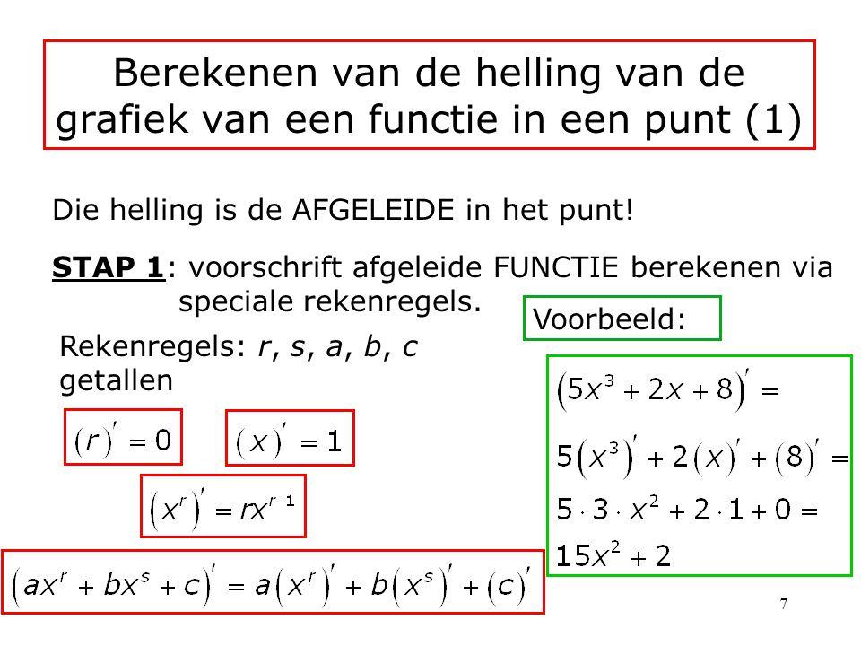 Berekenen van de helling van de grafiek van een functie in een punt (1)