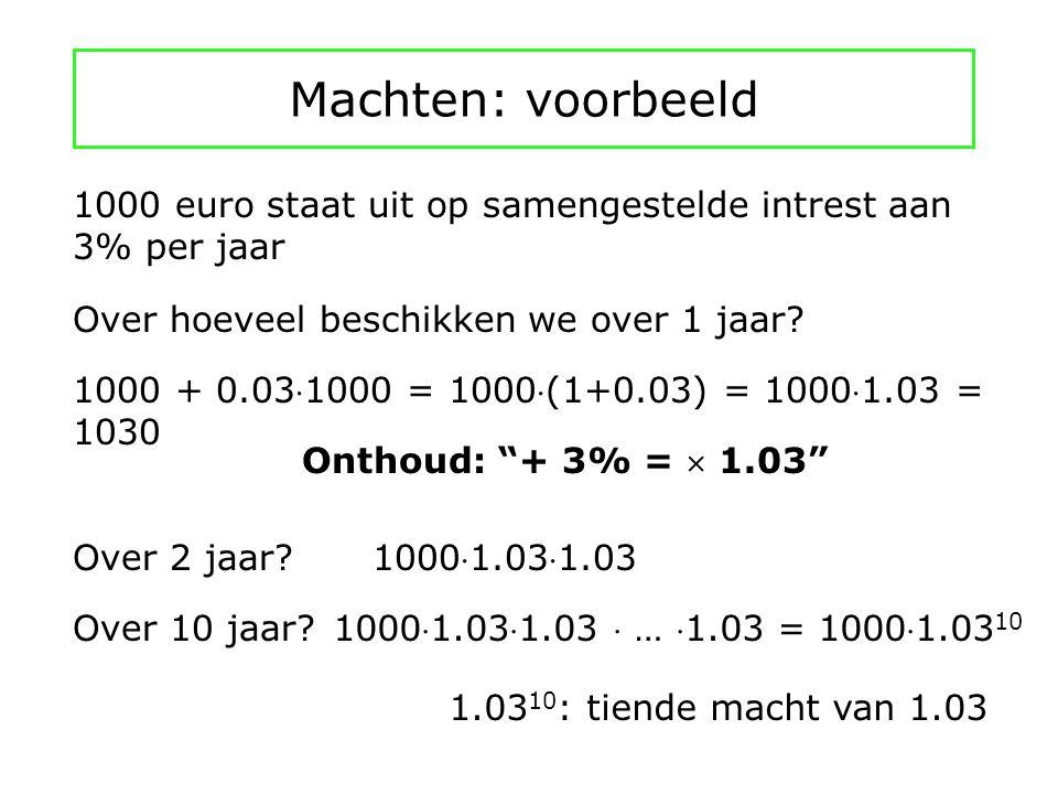 Machten: voorbeeld 1000 euro staat uit op samengestelde intrest aan 3% per jaar. Over hoeveel beschikken we over 1 jaar