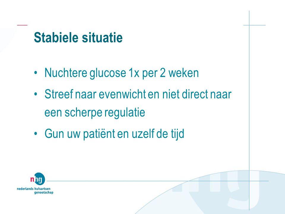Stabiele situatie Nuchtere glucose 1x per 2 weken