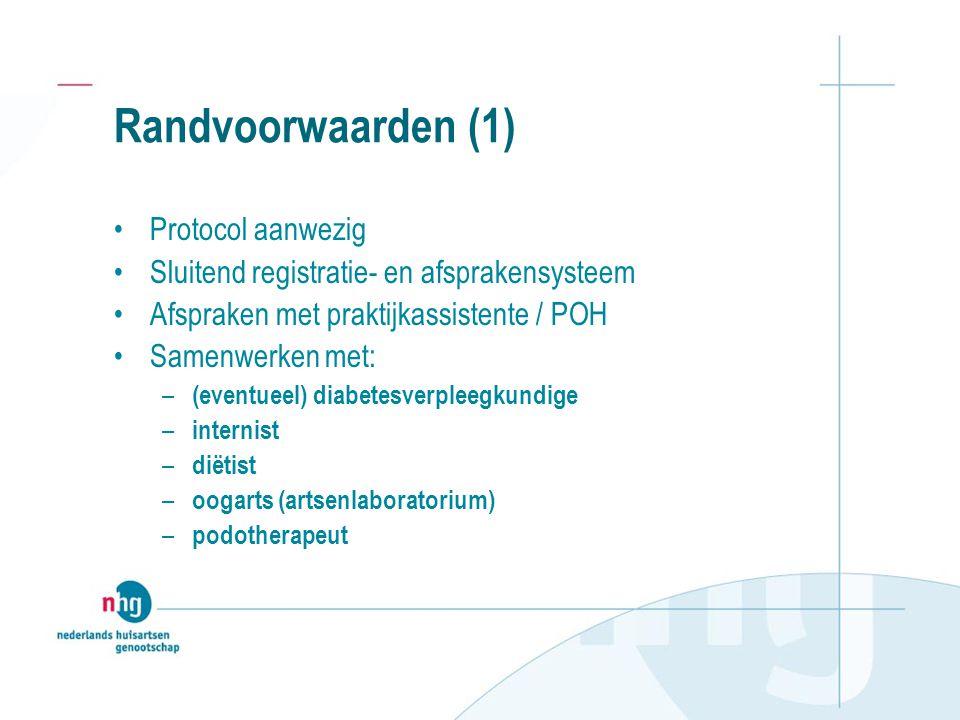 Randvoorwaarden (1) Protocol aanwezig