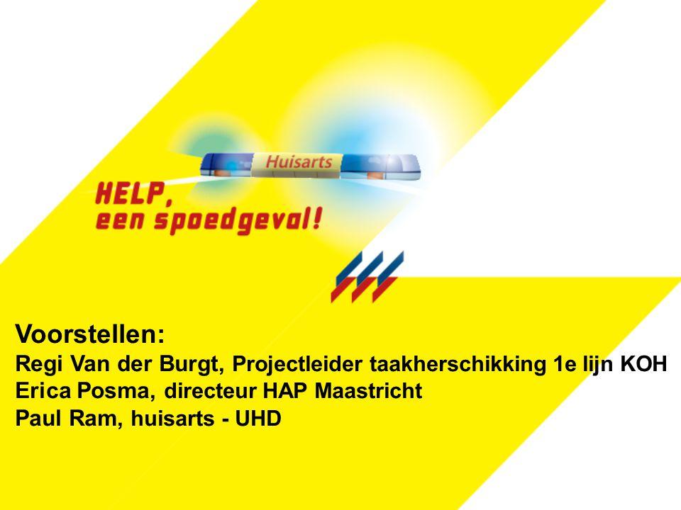Voorstellen: Regi Van der Burgt, Projectleider taakherschikking 1e lijn KOH Erica Posma, directeur HAP Maastricht.