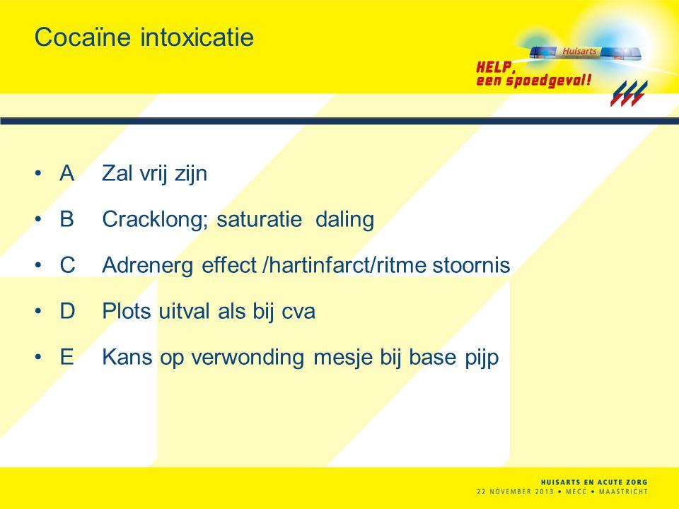 Cocaïne intoxicatie A Zal vrij zijn B Cracklong; saturatie daling