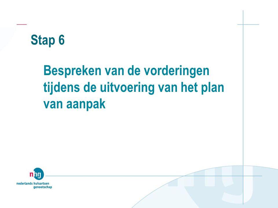 Stap 6 Bespreken van de vorderingen tijdens de uitvoering van het plan van aanpak
