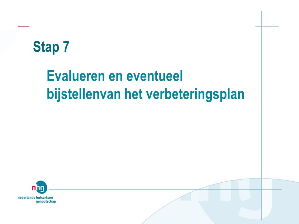 Stap 7 Evalueren en eventueel bijstellenvan het verbeteringsplan