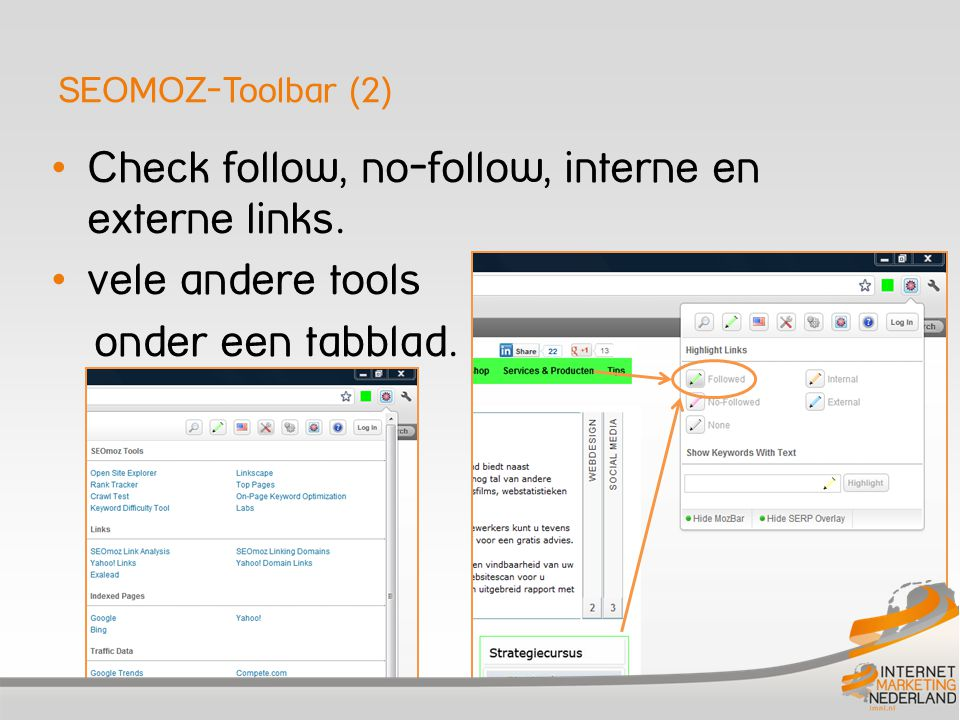 Check follow, no-follow, interne en externe links. vele andere tools