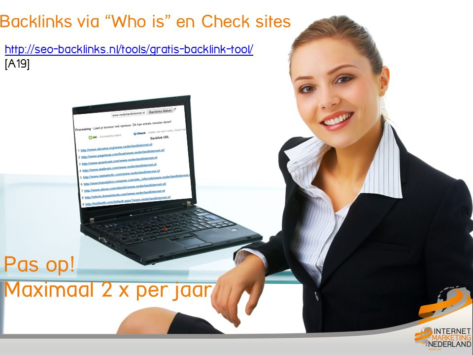 Backlinks via Who is en Check sites