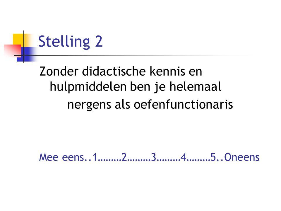 Stelling 2 Zonder didactische kennis en hulpmiddelen ben je helemaal