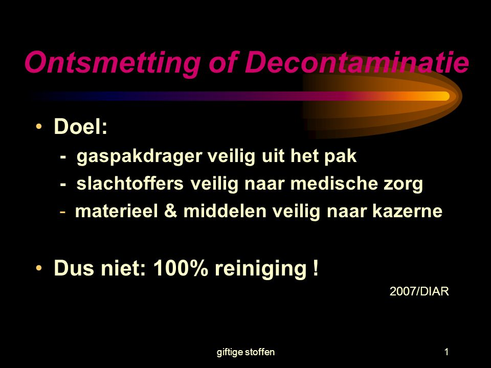 Ontsmetting of Decontaminatie