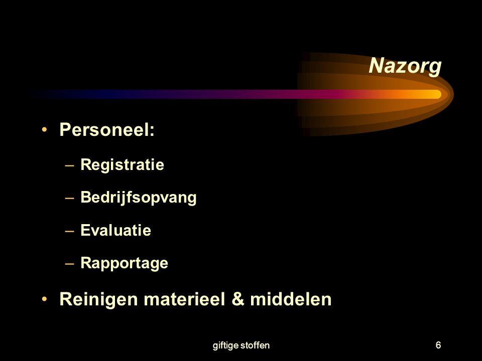 Nazorg Personeel: Reinigen materieel & middelen Registratie