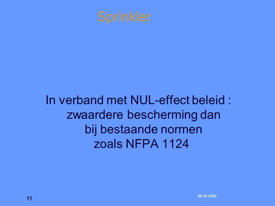 Sprinkler In verband met NUL-effect beleid : zwaardere bescherming dan bij bestaande normen zoals NFPA 1124.