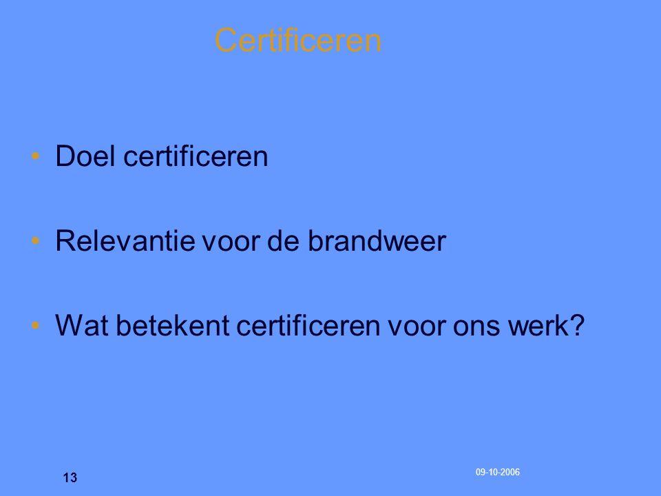 Certificeren Doel certificeren Relevantie voor de brandweer