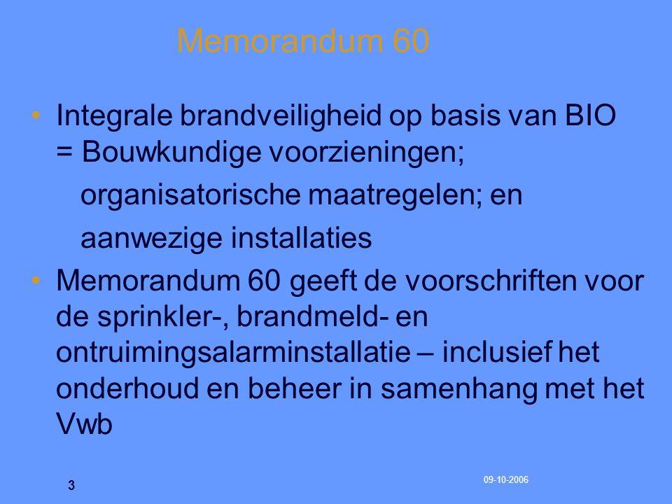 Memorandum 60 Integrale brandveiligheid op basis van BIO = Bouwkundige voorzieningen; organisatorische maatregelen; en.