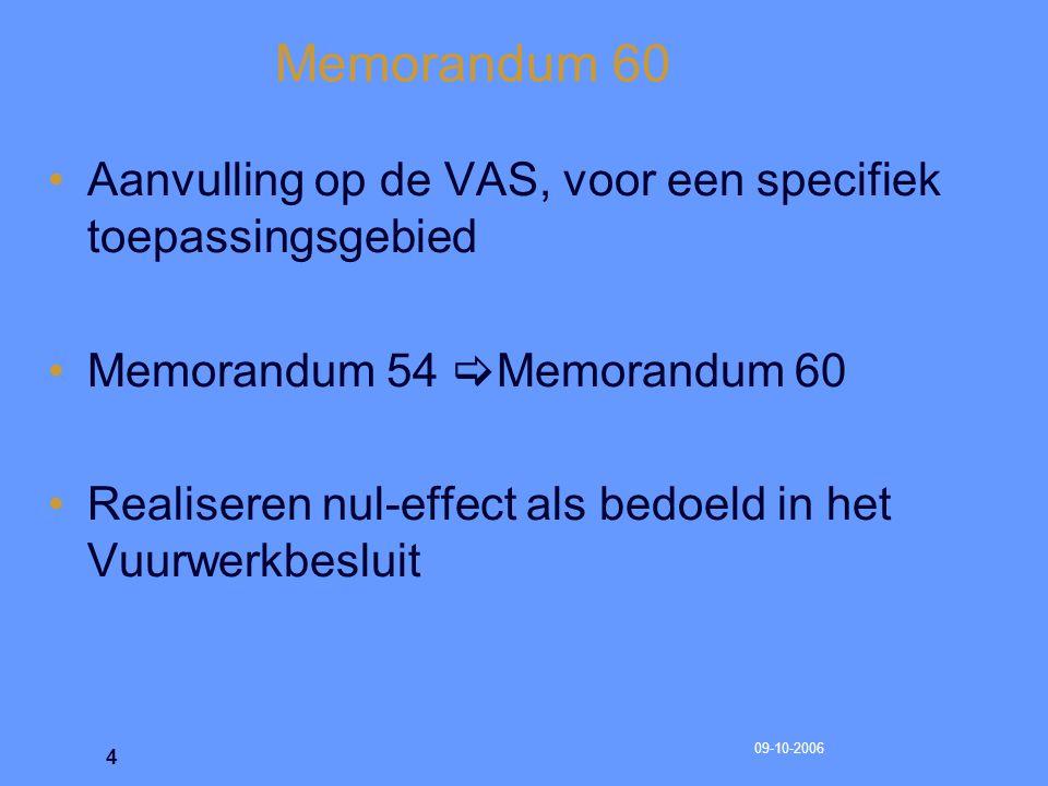 Memorandum 60 Aanvulling op de VAS, voor een specifiek toepassingsgebied. Memorandum 54 Memorandum 60.