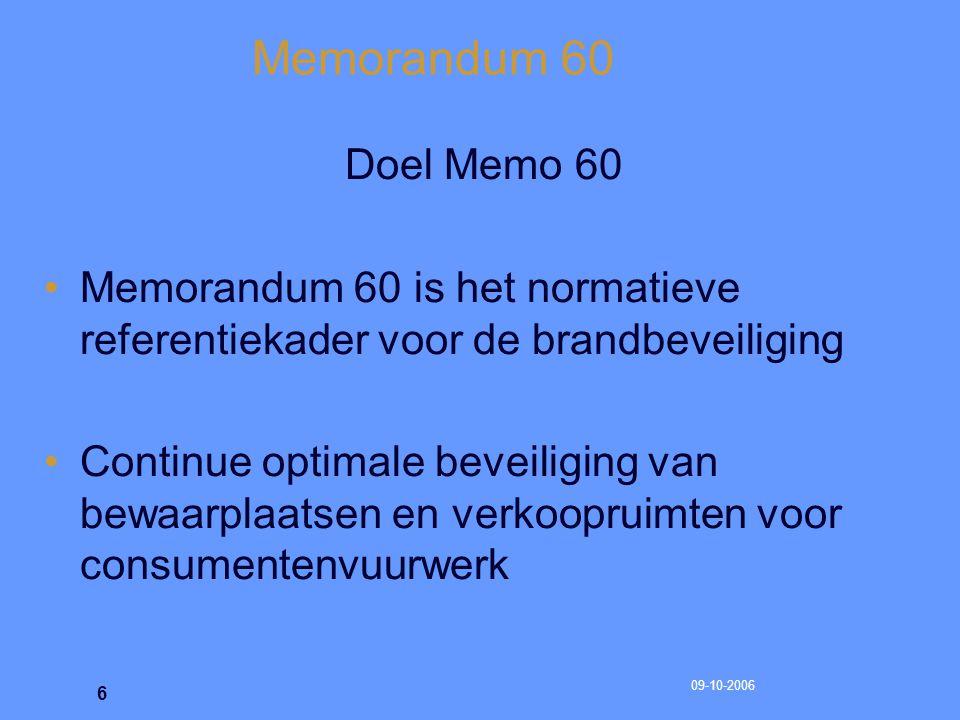 Memorandum 60 Doel Memo 60. Memorandum 60 is het normatieve referentiekader voor de brandbeveiliging.