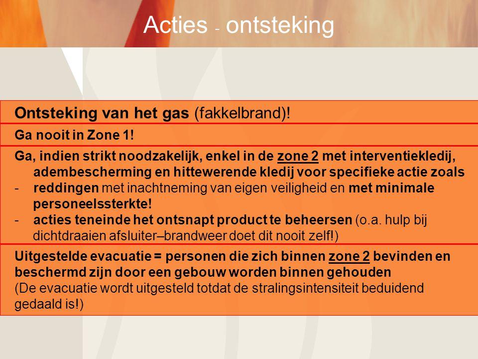 Acties - ontsteking Ontsteking van het gas (fakkelbrand)!