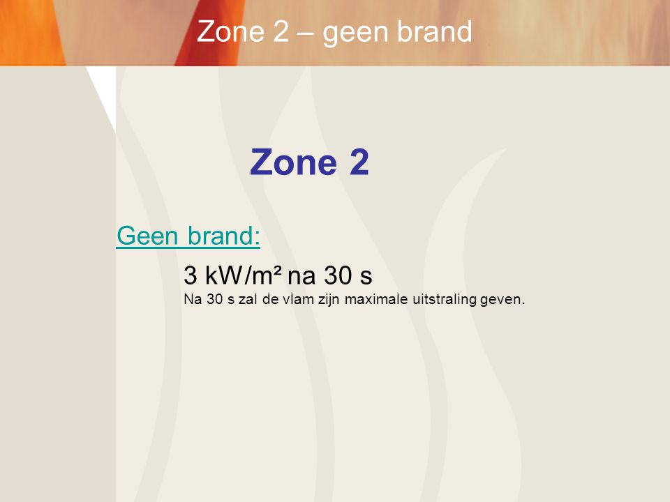 Zone 2 Zone 2 – geen brand Geen brand: 3 kW/m² na 30 s