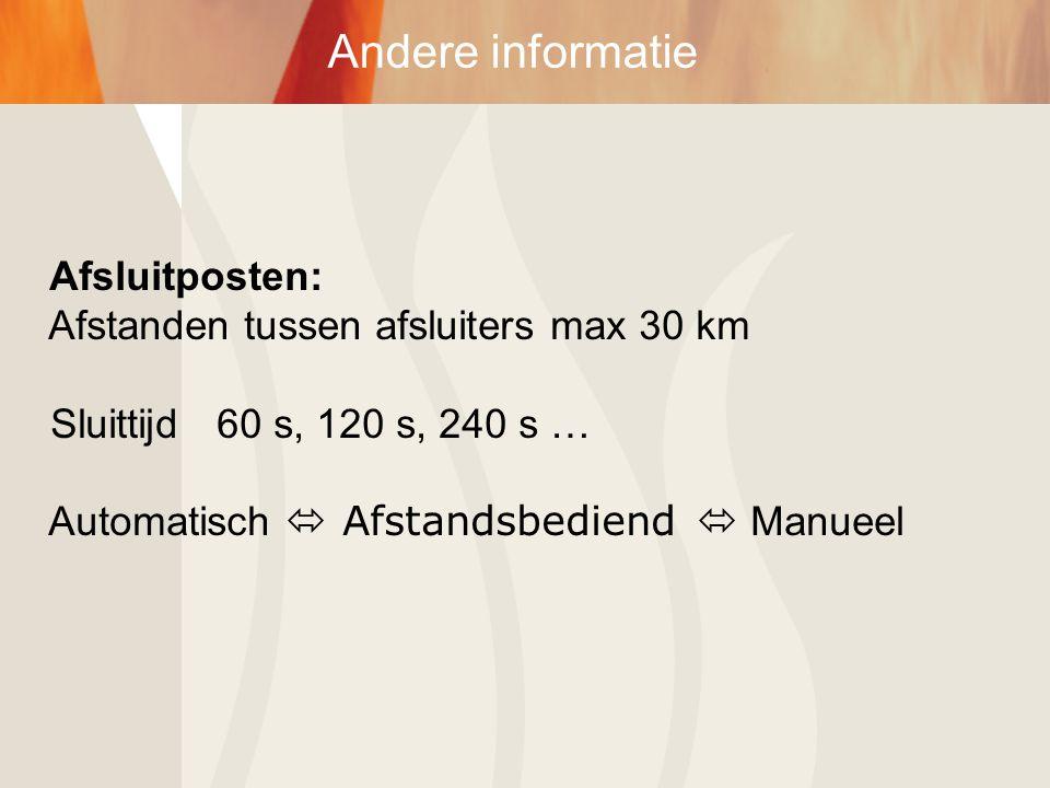 Andere informatie Afsluitposten: Afstanden tussen afsluiters max 30 km