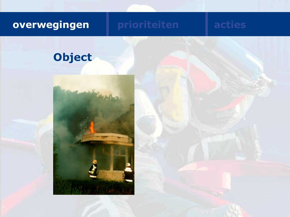 Object overwegingen prioriteiten acties Suggestie Overwegingen: Object