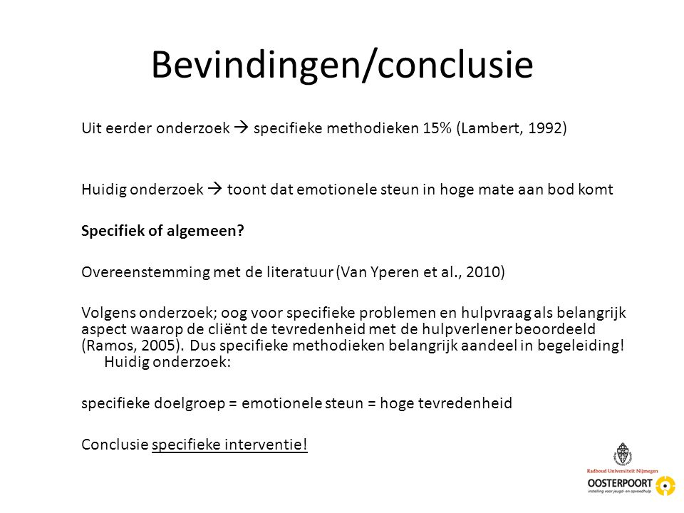 Bevindingen/conclusie