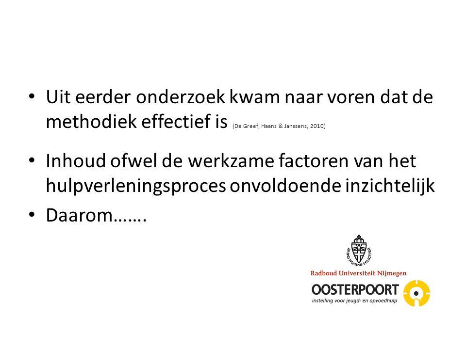Uit eerder onderzoek kwam naar voren dat de methodiek effectief is (De Greef, Haans & Janssens, 2010)