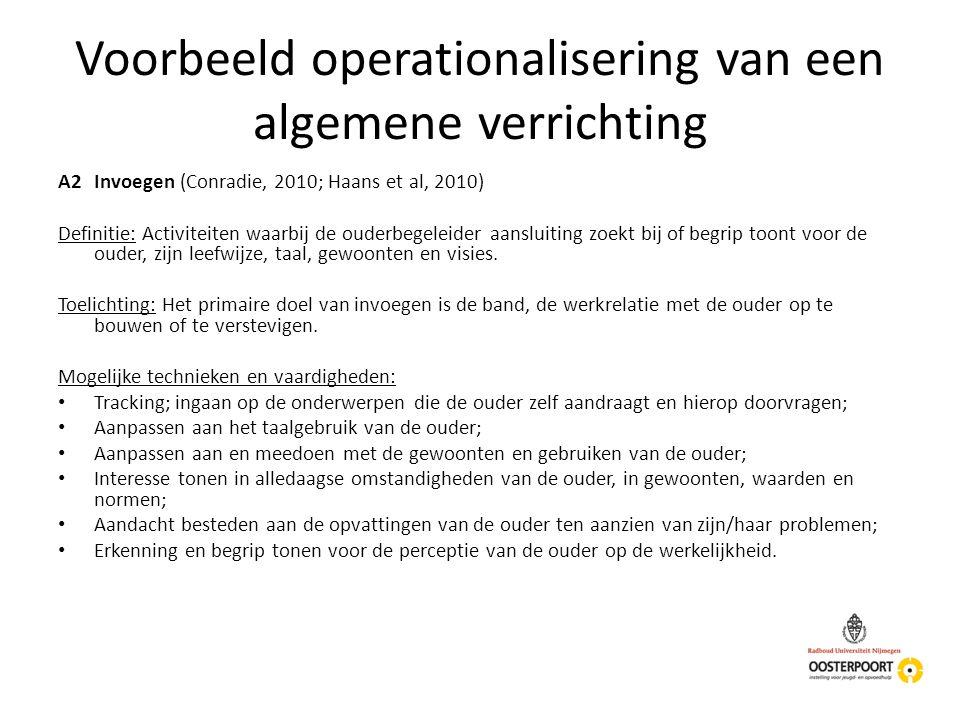 Voorbeeld operationalisering van een algemene verrichting